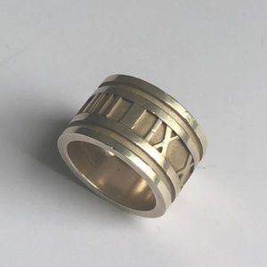 Tiffany & Co Atlas Roman Numeral Wide Band Ring